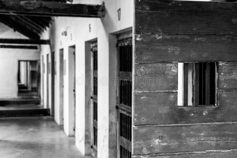 Interior of the buildings in concentrayion camps in Europe. Black and white photo of the cells in concentrations camps in Europe, Nis, Serbia stock image