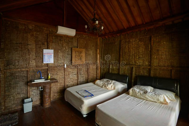 Interior bungalow in Asia. Asian bungalow interior in a hut for tourists by the ocean stock image
