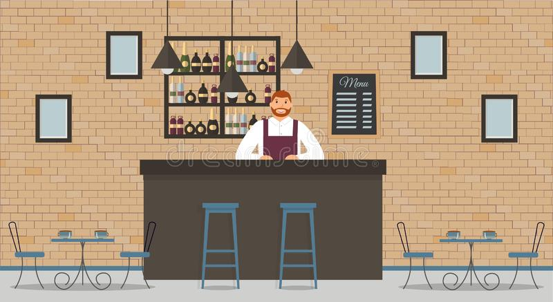 Interior of cafe or bar in loft style. Bar counter, bartender in white shirt and apron,tables, different chairs and shelves royalty free illustration