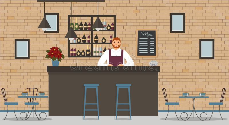 Interior of cafe or bar in loft style. Bar counter, bartender in white shirt and apron, tables, poinsettia,different chairs and sh. Elves with bottles of alcohol royalty free illustration