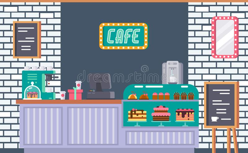 Interior of cafe building facade, modern coffeeshop store. Interior of cafe building facade, coffeeshop, counter, bar counter with coffee machine, cash register stock illustration