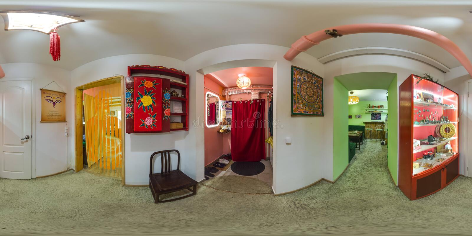 Interior of cafe in eco-style. 3D spherical panorama with 360 degree viewing angle. Ready for virtual reality in vr. Full equirect. Interior of cafe in eco-style stock photo