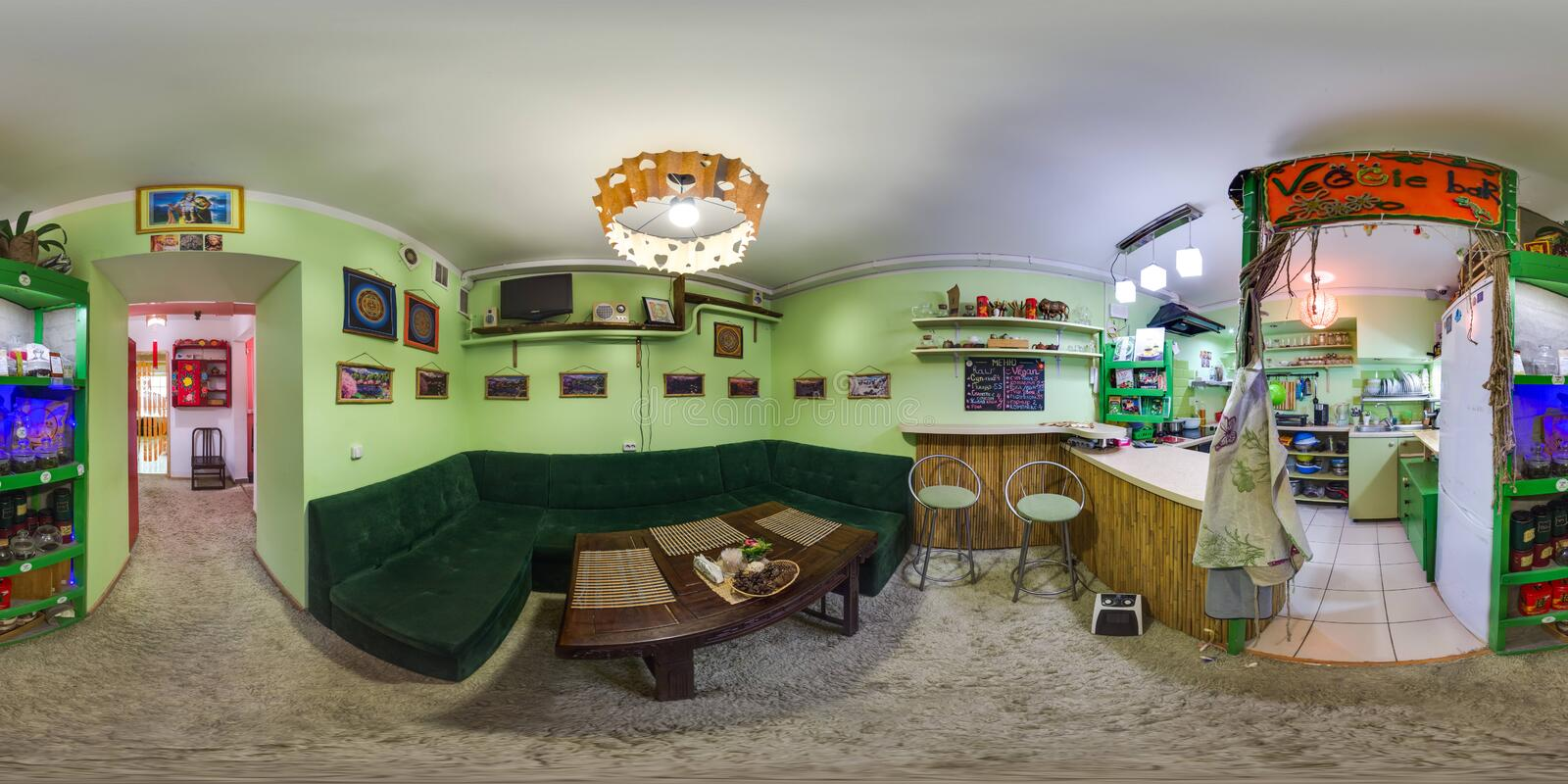 Interior of cafe in eco-style. 3D spherical panorama with 360 degree viewing angle. Ready for virtual reality in vr. Full equirect. Interior of cafe in eco-style royalty free stock images