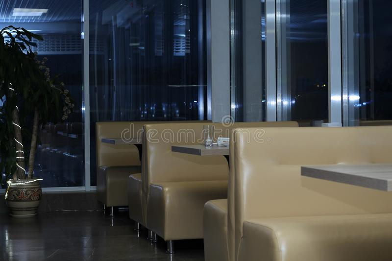 Interior of the cafe in the evening royalty free stock photo