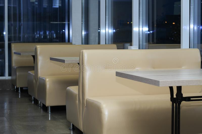 Interior of the cafe in the evening stock images