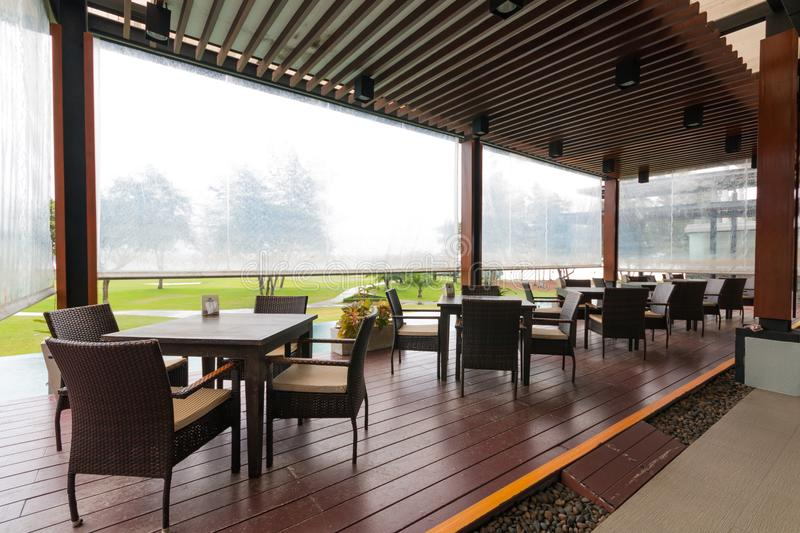 Interior of cafe outdoor restaurant. In resort royalty free stock image