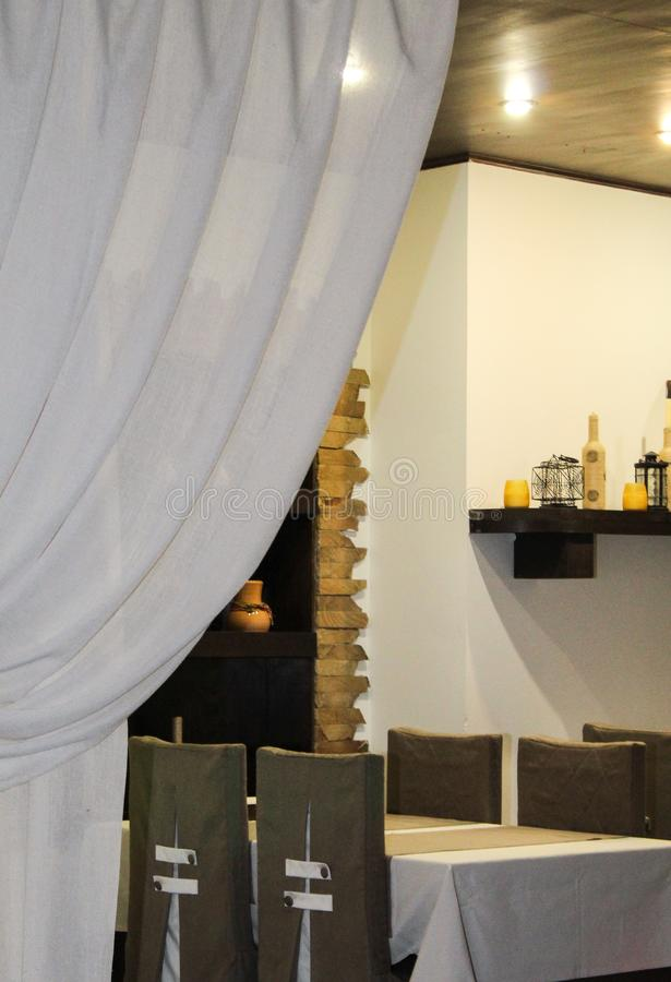 Interior of cafe is ready for the arrival of visitors stock photography