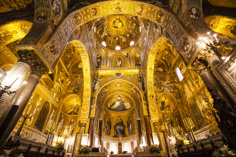 Interior of the Capella Palatina Chapel inside the Palazzo dei Normanni in Palermo, Sicily, Italy stock images