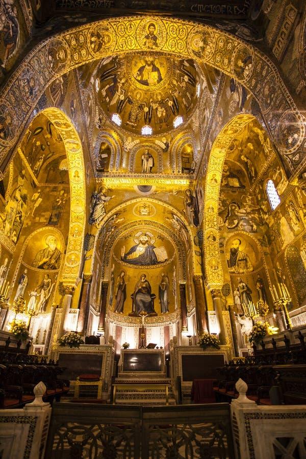 Interior of the Capella Palatina Chapel inside the Palazzo dei Normanni in Palermo, Sicily, Italy stock image
