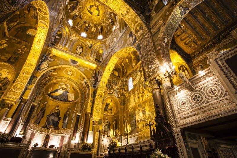 Interior of the Capella Palatina Chapel inside the Palazzo dei Normanni in Palermo, Sicily, Italy. Interior of the Capella Palatina Chapel inside the Palazzo dei stock image
