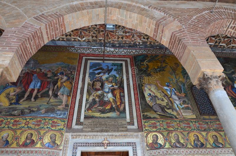 Interior of the Capella Palatina in Palazzo dei Normanni Norman Palace - Palermo - Sicily - Italy. Interior of the Capella Palatina in Palazzo dei Normanni stock photos
