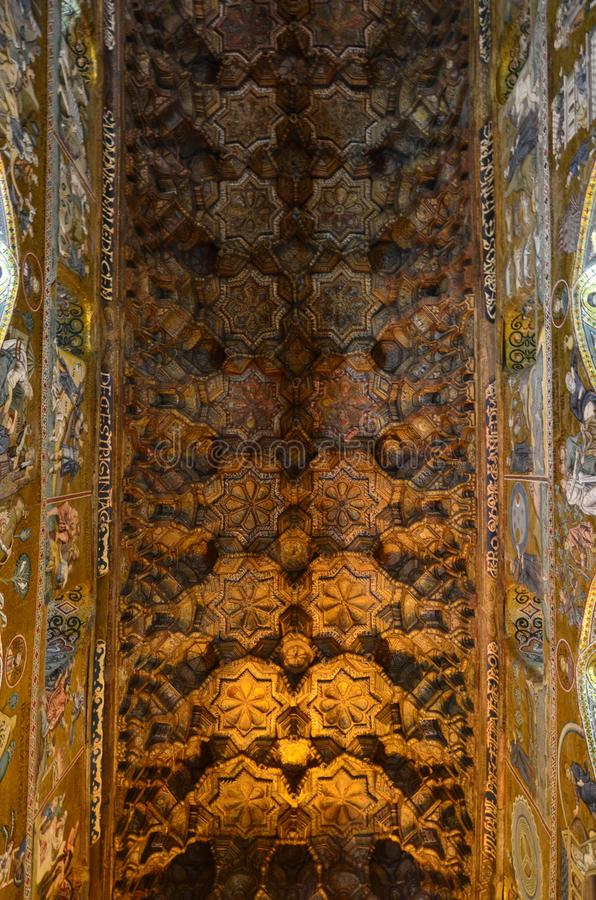 Interior of the Capella Palatina in Palazzo dei Normanni Norman Palace - Palermo - Sicily - Italy royalty free stock photo
