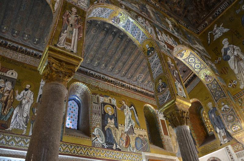 Interior of the Capella Palatina in Palazzo dei Normanni Norman Palace - Palermo - Sicily - Italy royalty free stock image