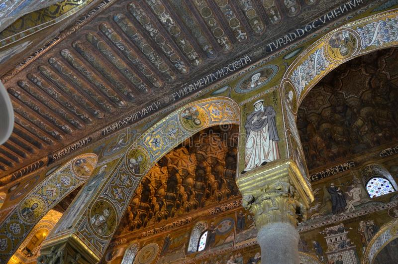 Interior of the Capella Palatina in Palazzo dei Normanni Norman Palace - Palermo - Sicily - Italy stock photos
