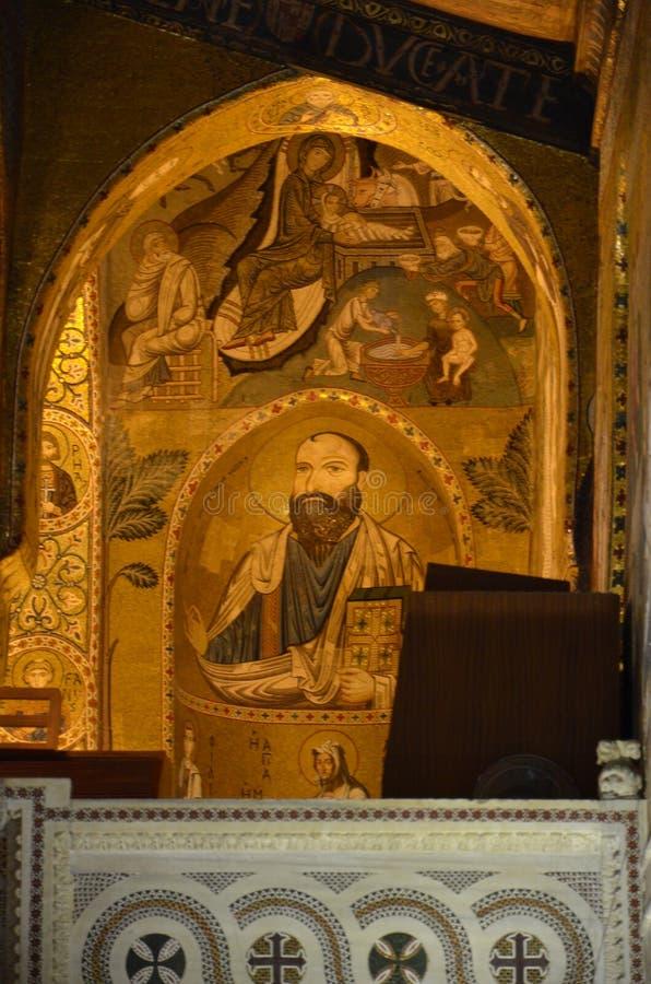 Interior of the Capella Palatina in Palazzo dei Normanni Norman Palace - Palermo - Sicily - Italy stock photos