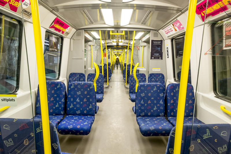 The interior of the car Stockholm metro. Sweden. royalty free stock photos