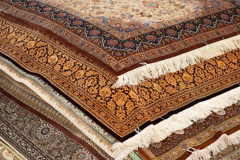 Interior of the carpet shop stock image