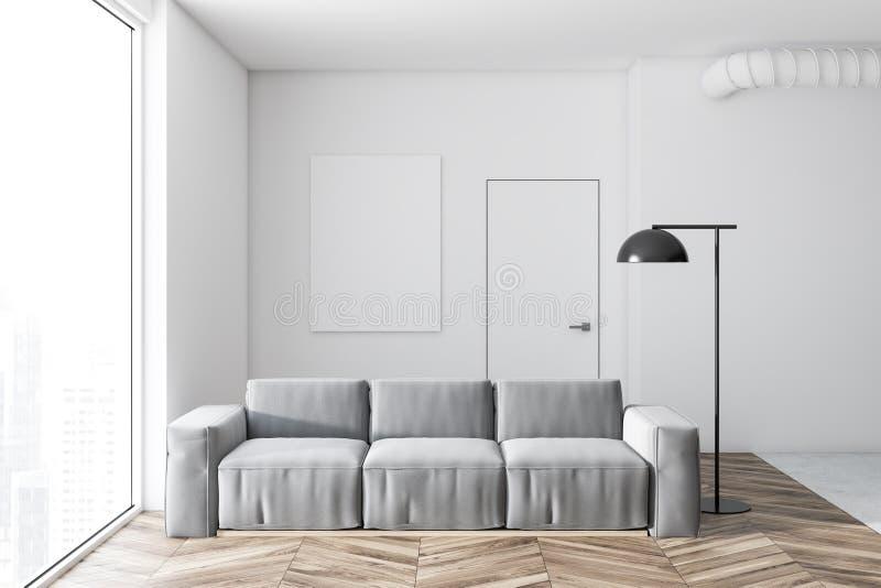 Interior, cartel y sofá blancos de la sala de estar libre illustration