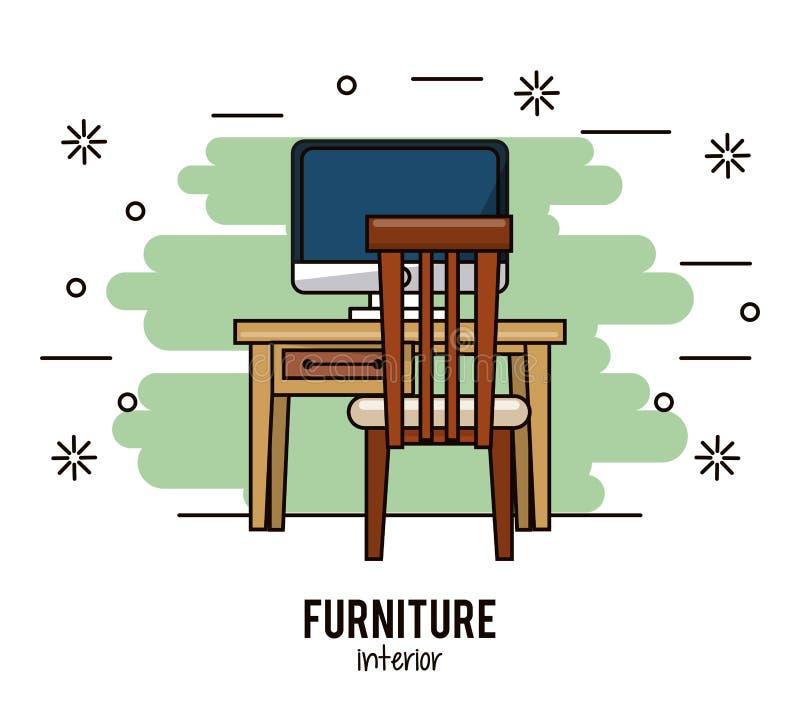 Interior casero de los muebles stock de ilustración