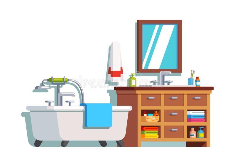 Interior casero del cuarto de baño con el baño, fregadero, espejo libre illustration