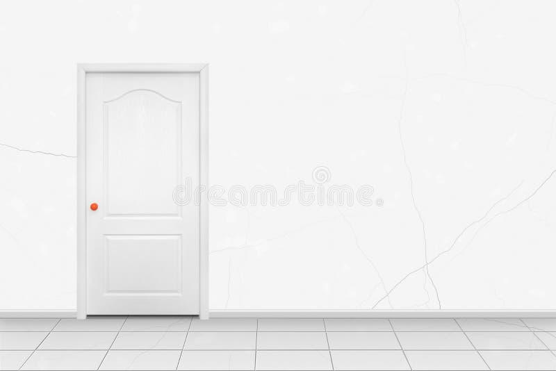 Interior casero - puerta interior del blanco en la manija anaranjada en frente fotografía de archivo