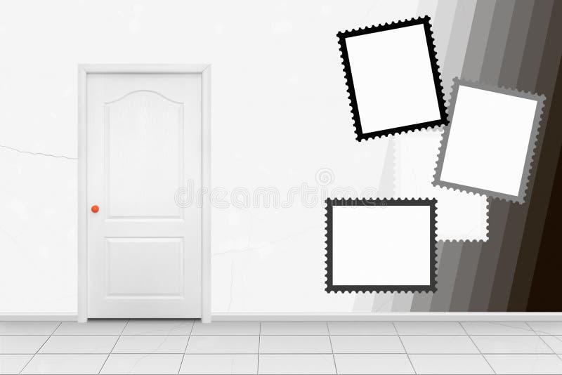 Interior casero - puerta interior del blanco en la manija anaranjada en frente libre illustration