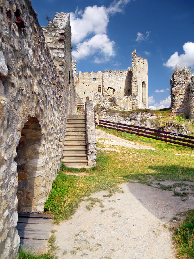 Interior of The Castle of Beckov stock photography