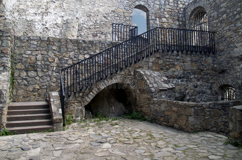Interior of The Castle of Strecno stock photography