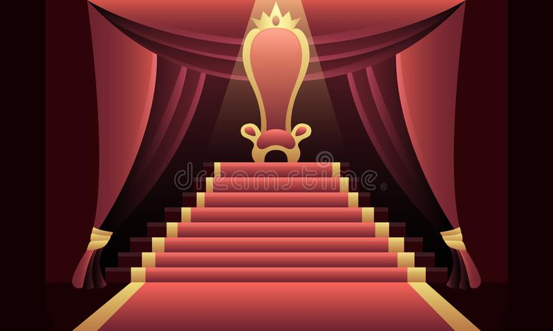 Interior of the castle with the throne royalty free illustration