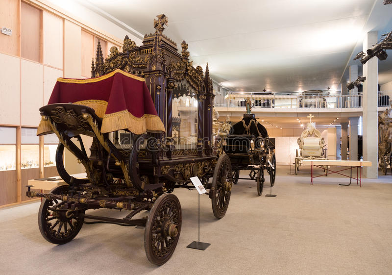 Interior of Catafalque Museum in Barcelona. BARCELONA, SPAIN - JULY 20, 2014: Interior of Catafalque Museum in Barcelona royalty free stock photos