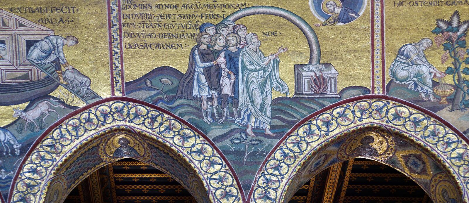 The interior Cathedral-Basilica of Monreale stock image