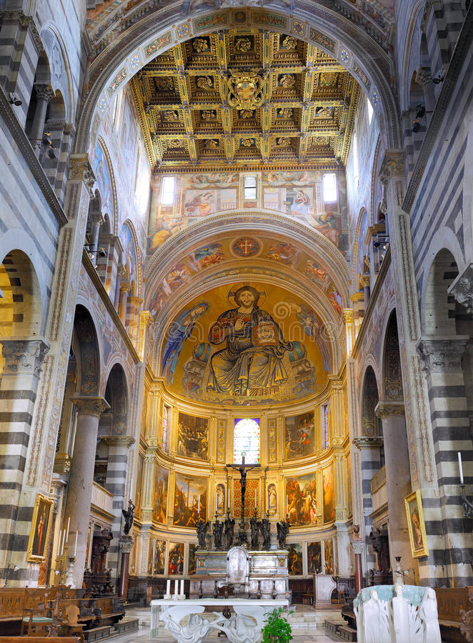 Interior of cathedral Duomo in Pisa, Italy stock image
