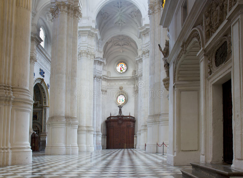 Interior of Cathedral, Granada , Spain stock photography