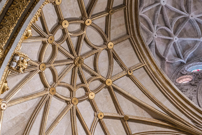 Interior of Cathedral of the incarnation, detail of vault formed by pointed arches, borders and nerves gilded. Almeria, SPAIN - May 19: Interior of Cathedral of stock photos