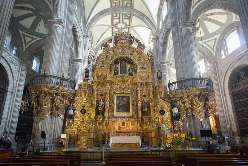 Interior of Cathedral metropolitana de la ciudad de Mexico on Zocalo square. Mexico city, circa february 2017: Interior of Cathedral metropolitana de la ciudad royalty free stock photography