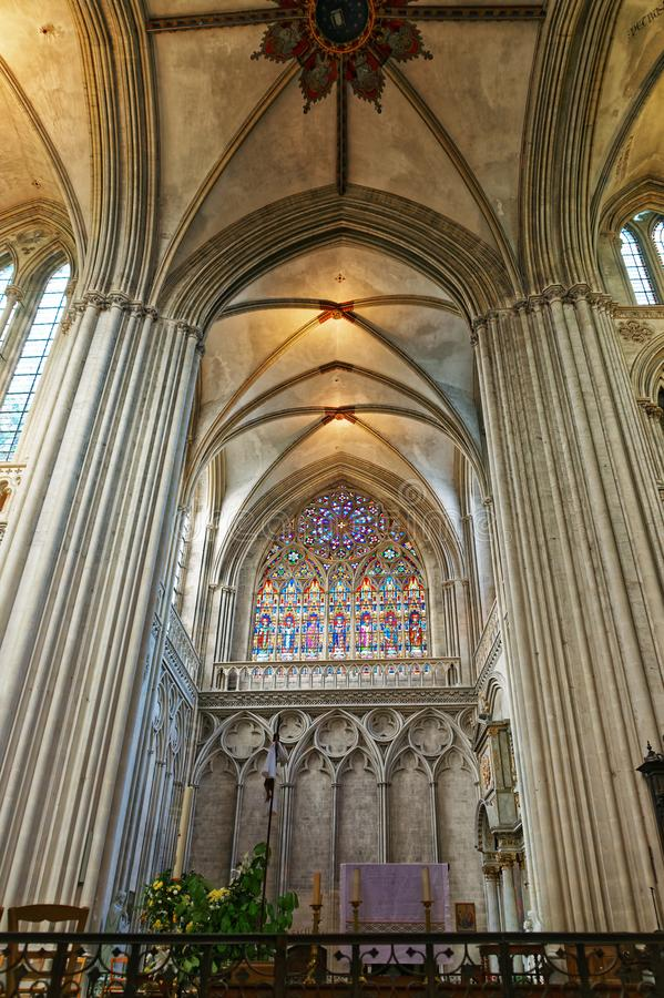 Interior of Cathedral of Our Lady of Bayeux in Normandy royalty free stock photo