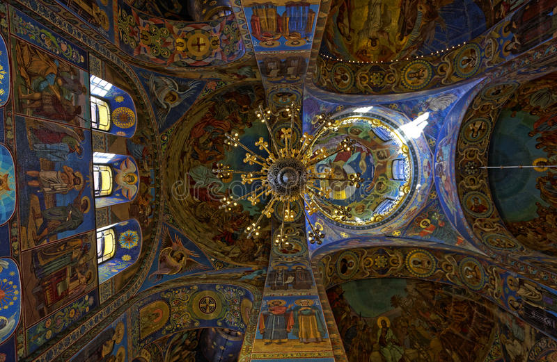 Interior of the Cathedral of the Resurrection of Christ in Saint Petersburg, Russia. Church of the Savior on Blood royalty free stock photography