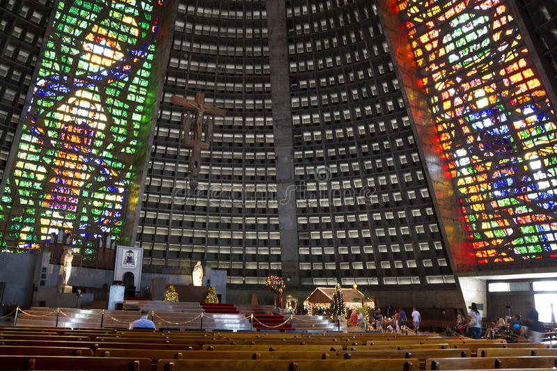 The interior of the Cathedral of Rio de Janeiro royalty free stock image