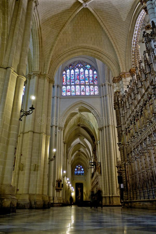 Interior of the Cathedral of Saint Mary in Toledo Spain. This is a shot of the interior of Primate Cathedral in Toledo Spain stock photography