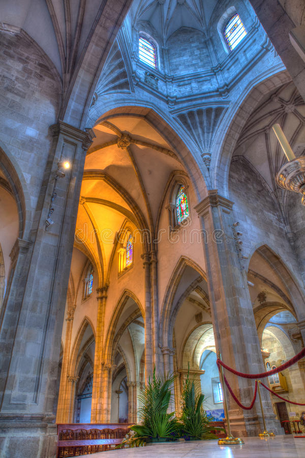 Interior of the Cathedral Santander stock photo