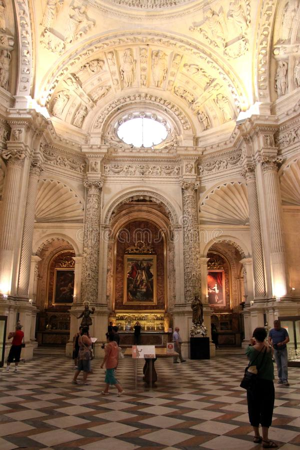 Interior Cathedral of Seville - is the third largest church in the world. Burial Place of Christopher Columbus. SEVILLE, SPAIN - JULY 27, 2011:Interior Cathedral royalty free stock photos