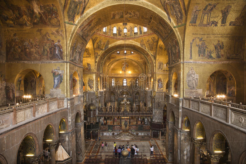 Interior of Cathedral at St Mark's Basilica royalty free stock photos