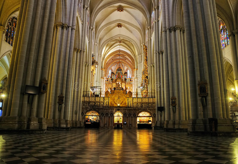 Interior of Cathedral of Toledo. Interior of the cathedral of Toledo; the Santa Maria (Saint Mary) de Toledo. It is one of the largest cathedrals of Spain stock photos