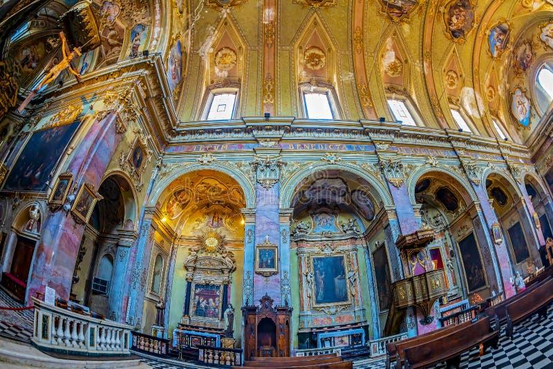 Interior of the catholic church Sant Agata nel Carmine, Bergamo, Italy. BERGAMO, ITALY - JUNE 30, 2019: Interior of the catholic church Sant Agata nel Carmine stock photo