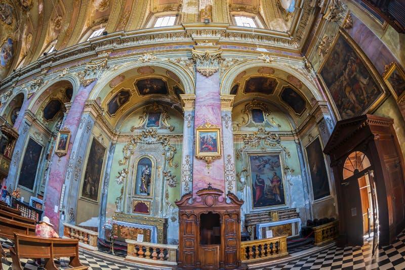 Interior of the catholic church Sant Agata nel Carmine, Bergamo, Italy. BERGAMO, ITALY - JUNE 30, 2019: Interior of the catholic church Sant Agata nel Carmine stock photography