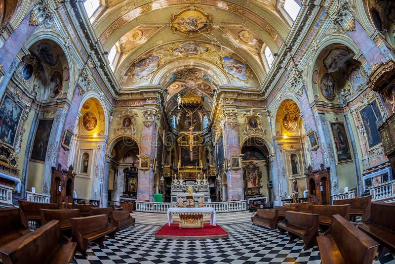 Interior of the catholic church Sant Agata nel Carmine, Bergamo, Italy. BERGAMO, ITALY - JUNE 30, 2019: Interior of the catholic church Sant Agata nel Carmine royalty free stock photo