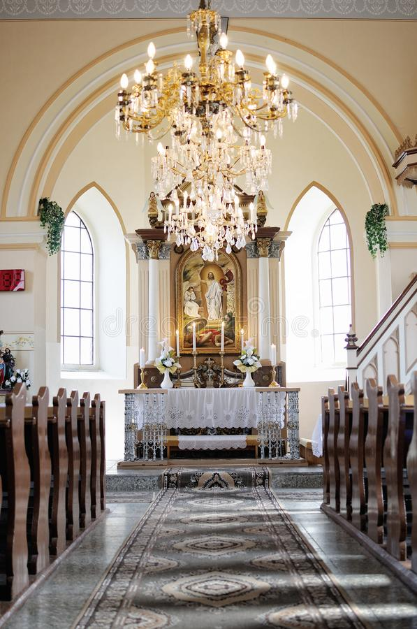Interior catholic church in Slovakia royalty free stock images