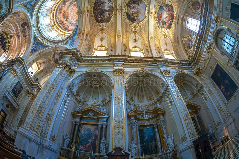 Interior of Cattedrale di Sant Alessandro, Bergamo, Italy. BERGAMO, ITALY - JUNE 30, 2019: Interior of Cattedrale di Sant Alessandro, a Roman Catholic cathedral stock images