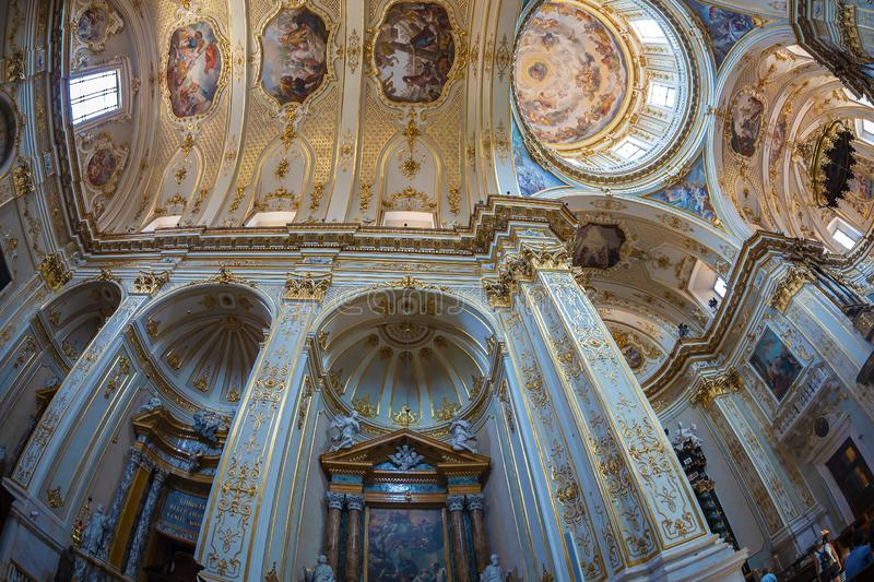 Interior of Cattedrale di Sant Alessandro, Bergamo, Italy. BERGAMO, ITALY - JUNE 30, 2019: Interior of Cattedrale di Sant Alessandro, a Roman Catholic cathedral royalty free stock photos