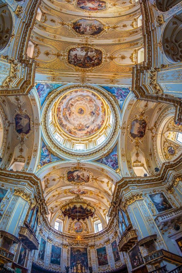Interior of Cattedrale di Sant Alessandro, Bergamo, Italy. BERGAMO, ITALY - JUNE 30, 2019: Interior of Cattedrale di Sant Alessandro, a Roman Catholic cathedral stock photos